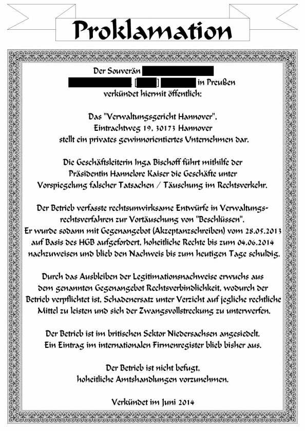Proklamation VwG Hannover anonym